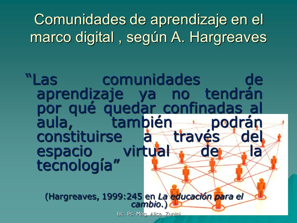 Lic. Ps. Mag. Alice Zunini Comunidades de aprendizaje en el marco digital, según A. Hargreaves Las comunidades de aprendizaje ya no tendrán por qué qu