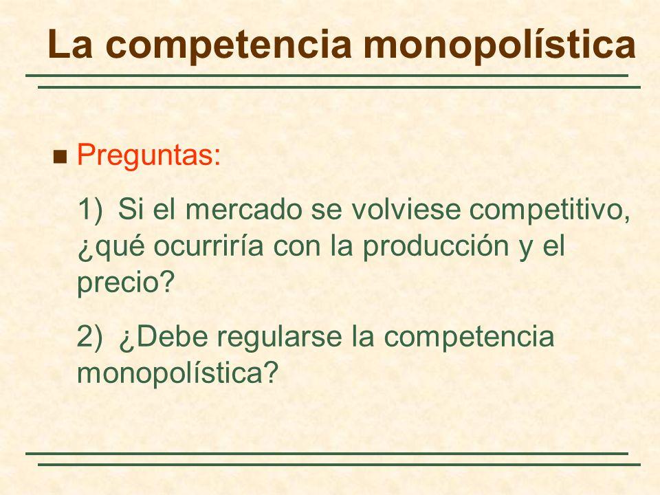 Preguntas: 1)Si el mercado se volviese competitivo, ¿qué ocurriría con la producción y el precio? 2)¿Debe regularse la competencia monopolística? La c