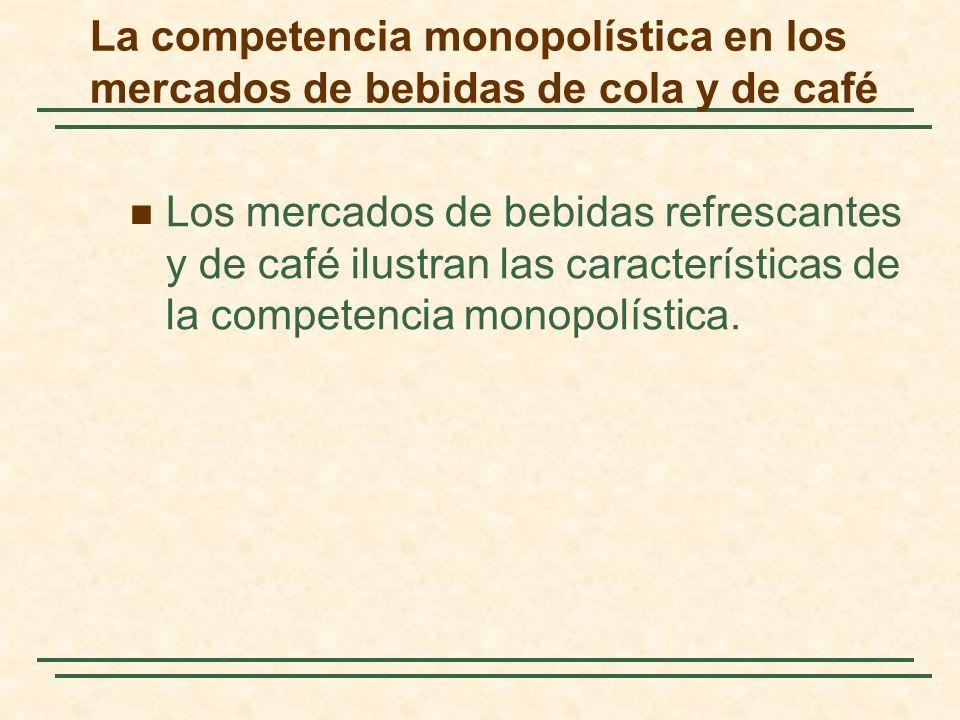 La competencia monopolística en los mercados de bebidas de cola y de café Los mercados de bebidas refrescantes y de café ilustran las características