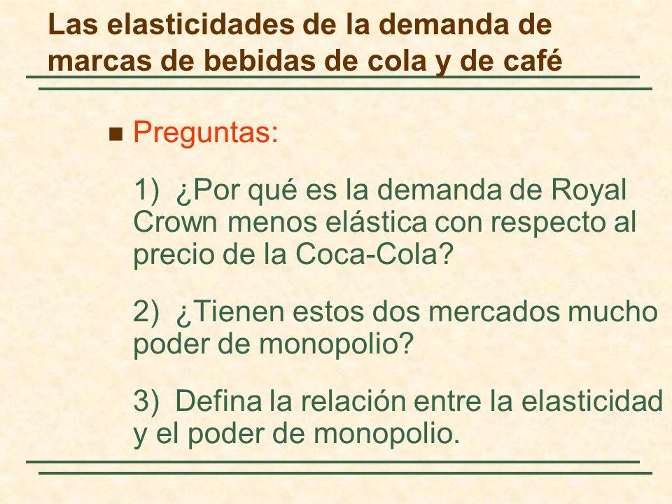 Preguntas: 1)¿Por qué es la demanda de Royal Crown menos elástica con respecto al precio de la Coca-Cola? 2)¿Tienen estos dos mercados mucho poder de