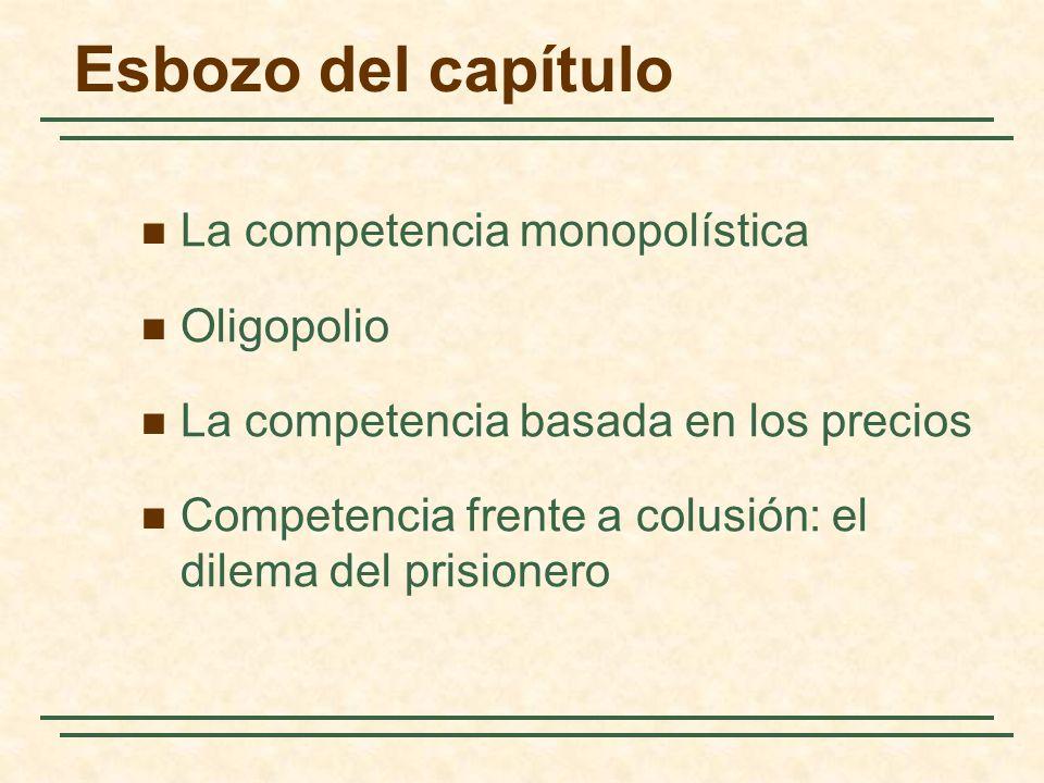 Esbozo del capítulo La competencia monopolística Oligopolio La competencia basada en los precios Competencia frente a colusión: el dilema del prisione