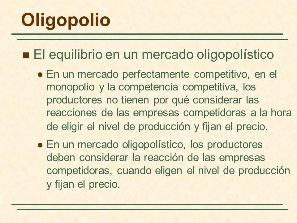 El equilibrio en un mercado oligopolístico En un mercado perfectamente competitivo, en el monopolio y la competencia competitiva, los productores no t