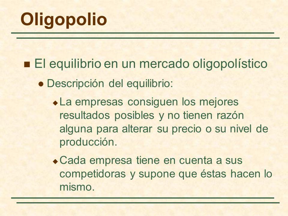 El equilibrio en un mercado oligopolístico Descripción del equilibrio: La empresas consiguen los mejores resultados posibles y no tienen razón alguna