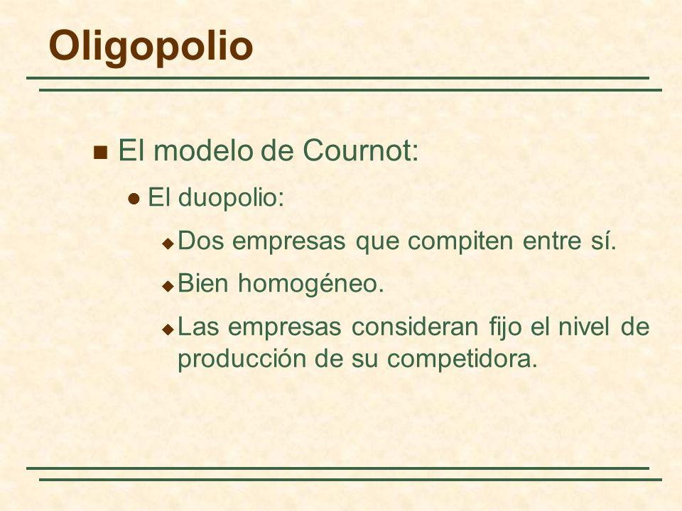 El modelo de Cournot: El duopolio: Dos empresas que compiten entre sí. Bien homogéneo. Las empresas consideran fijo el nivel de producción de su compe