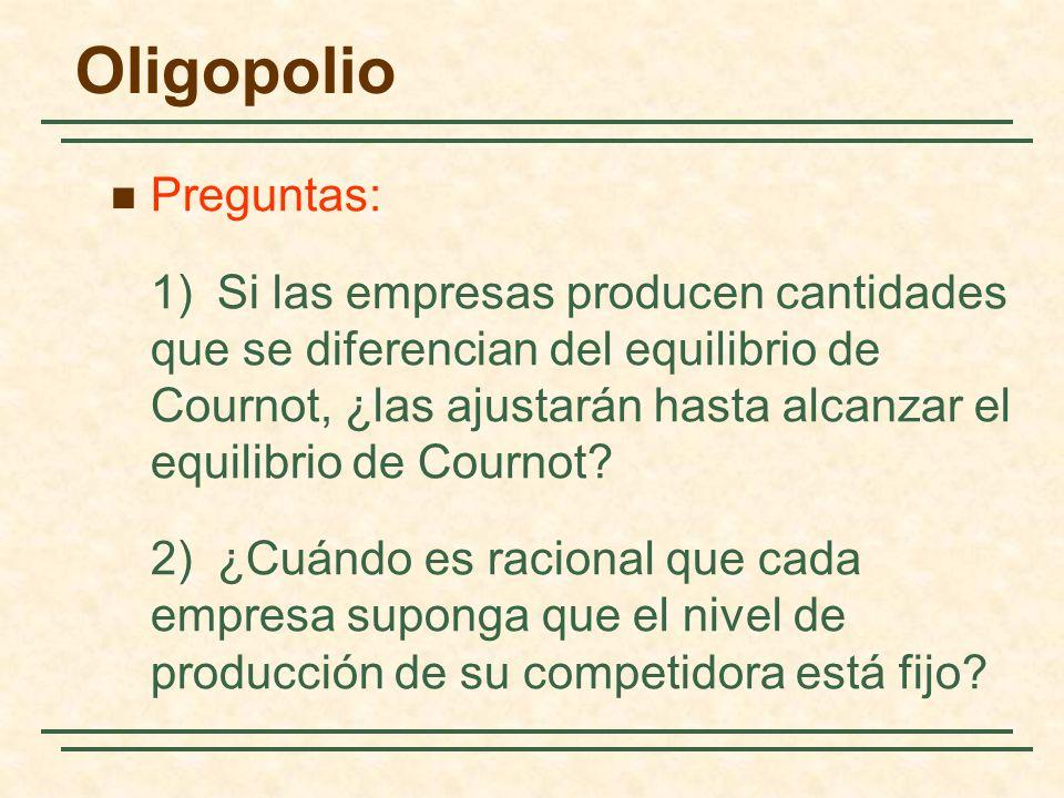 Preguntas: 1)Si las empresas producen cantidades que se diferencian del equilibrio de Cournot, ¿las ajustarán hasta alcanzar el equilibrio de Cournot?