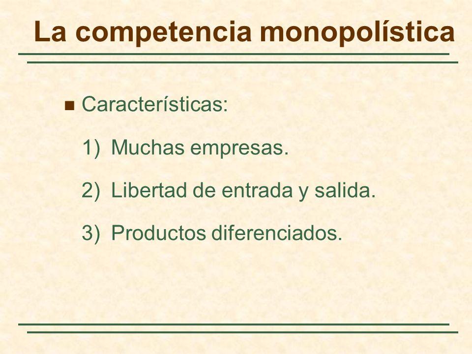 La competencia monopolística Características: 1)Muchas empresas. 2)Libertad de entrada y salida. 3)Productos diferenciados.