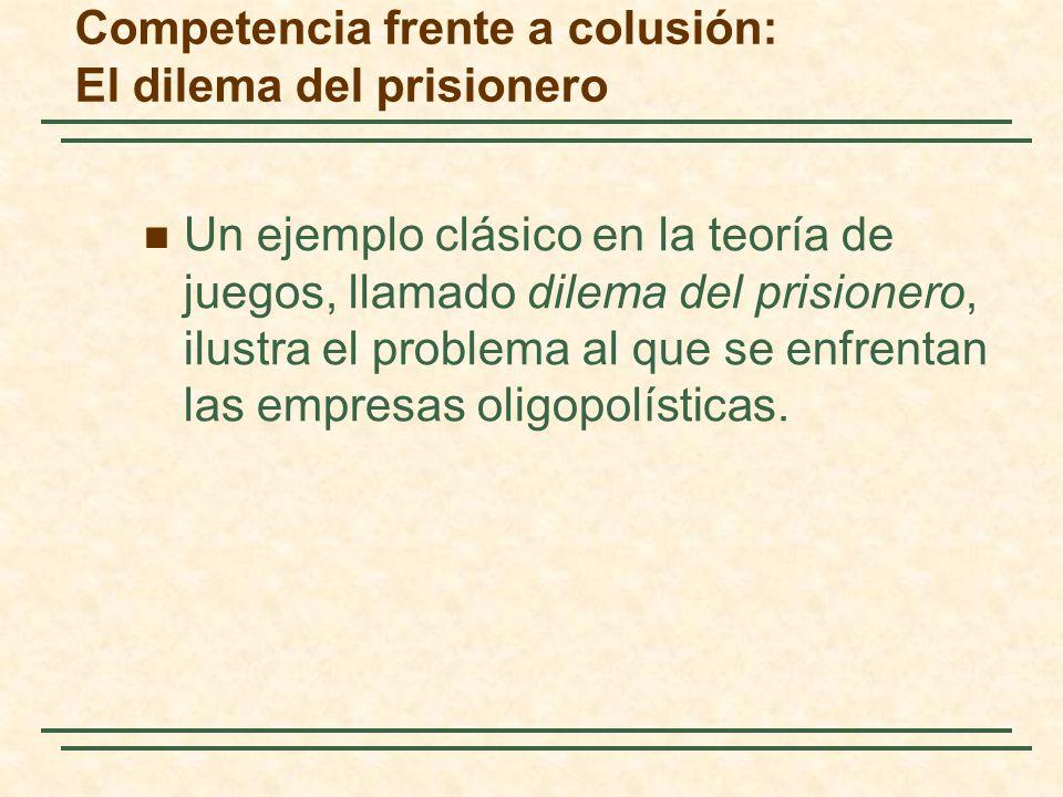 Un ejemplo clásico en la teoría de juegos, llamado dilema del prisionero, ilustra el problema al que se enfrentan las empresas oligopolísticas. Compet