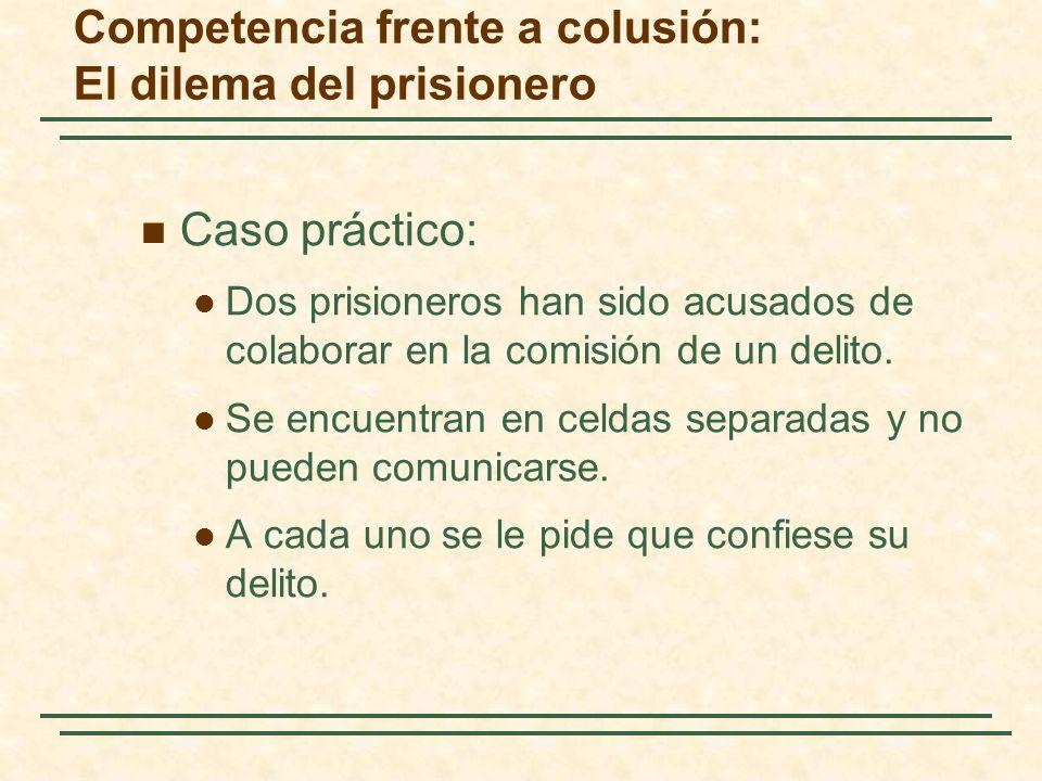 Caso práctico: Dos prisioneros han sido acusados de colaborar en la comisión de un delito. Se encuentran en celdas separadas y no pueden comunicarse.