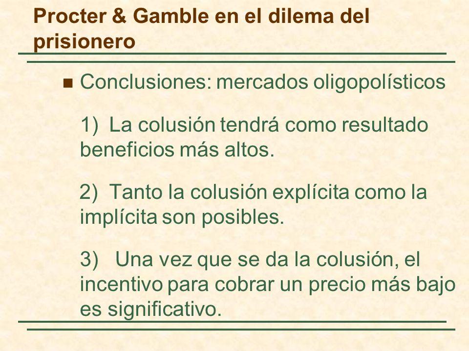 Procter & Gamble en el dilema del prisionero Conclusiones: mercados oligopolísticos 1)La colusión tendrá como resultado beneficios más altos. 2)Tanto