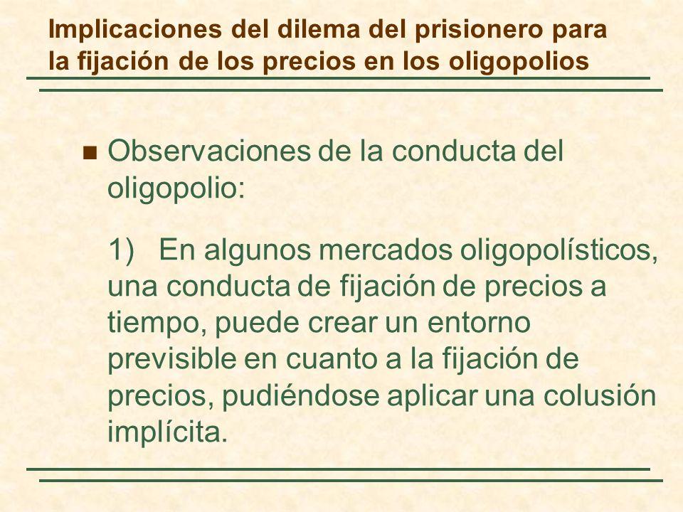 Implicaciones del dilema del prisionero para la fijación de los precios en los oligopolios Observaciones de la conducta del oligopolio: 1) En algunos