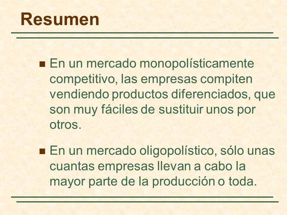 Resumen En un mercado monopolísticamente competitivo, las empresas compiten vendiendo productos diferenciados, que son muy fáciles de sustituir unos p