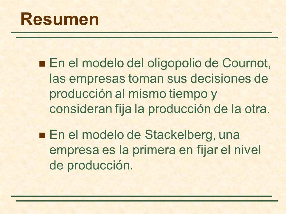 Resumen En el modelo del oligopolio de Cournot, las empresas toman sus decisiones de producción al mismo tiempo y consideran fija la producción de la
