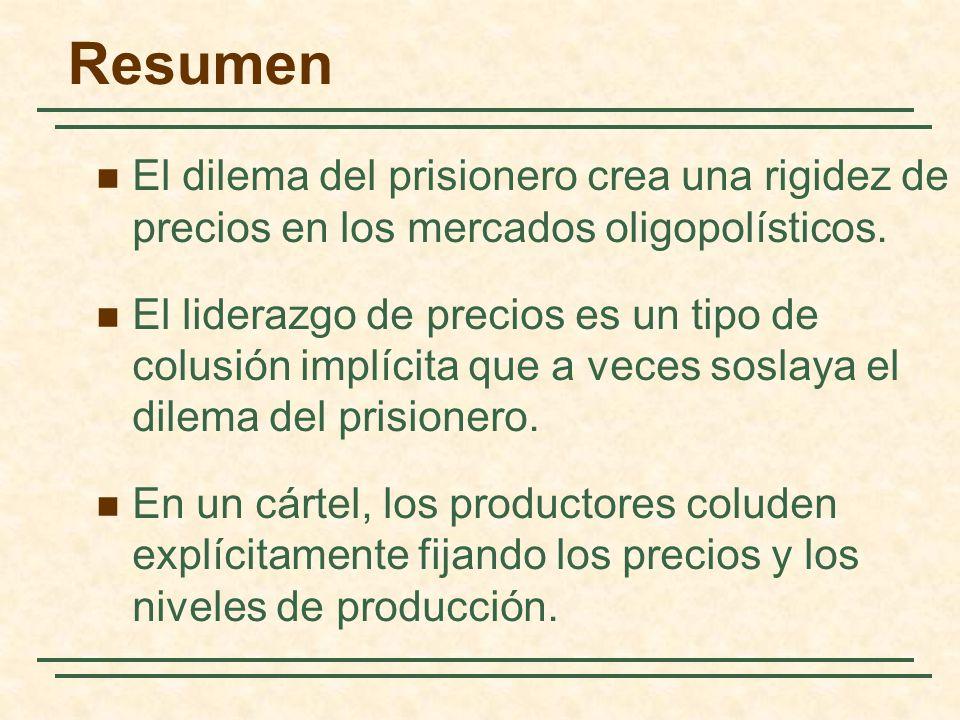 Resumen El dilema del prisionero crea una rigidez de precios en los mercados oligopolísticos. El liderazgo de precios es un tipo de colusión implícita