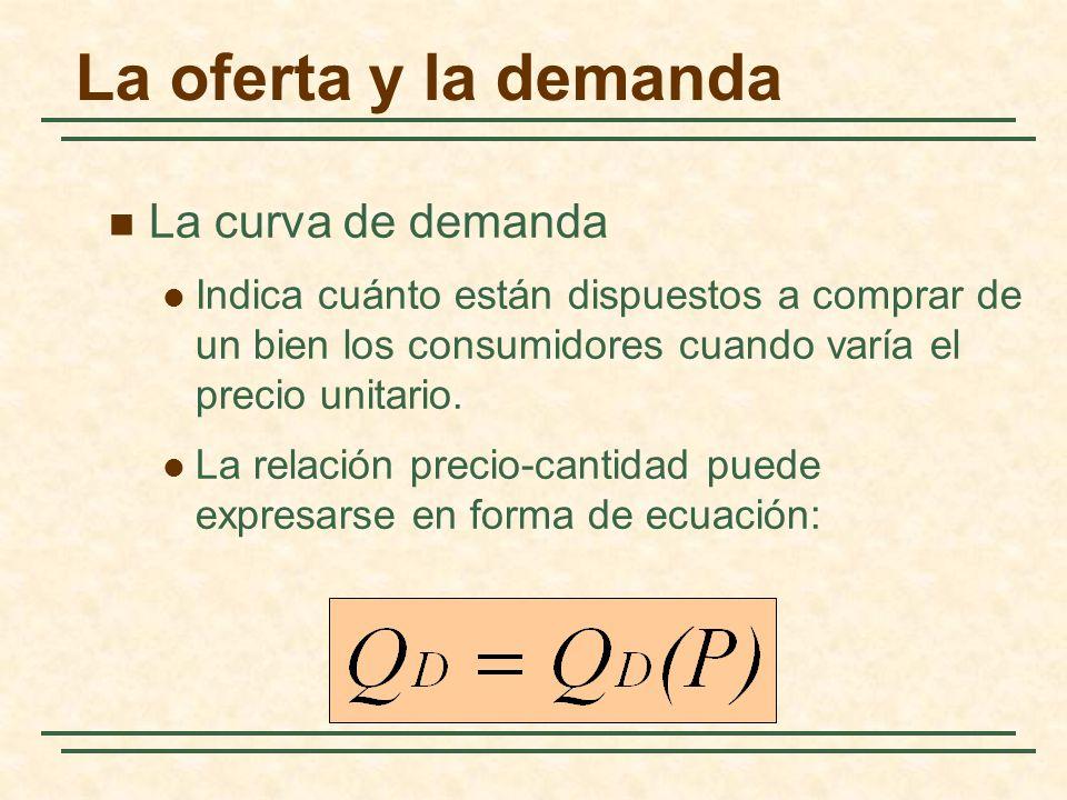 La oferta y la demanda La curva de demanda Indica cuánto están dispuestos a comprar de un bien los consumidores cuando varía el precio unitario. La re