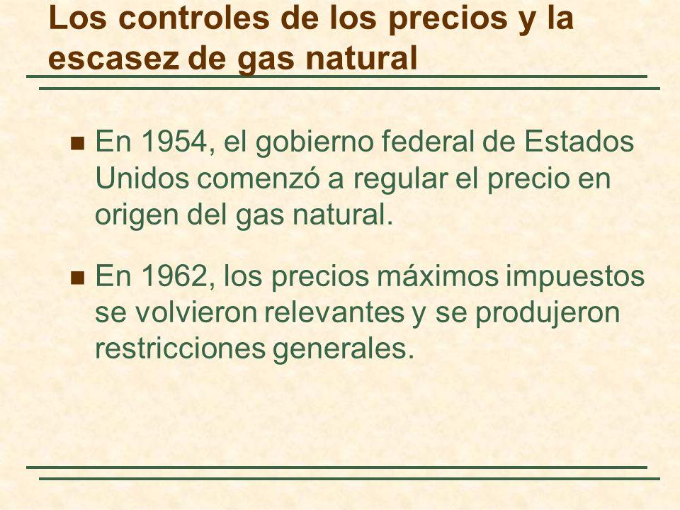 Los controles de los precios y la escasez de gas natural En 1954, el gobierno federal de Estados Unidos comenzó a regular el precio en origen del gas