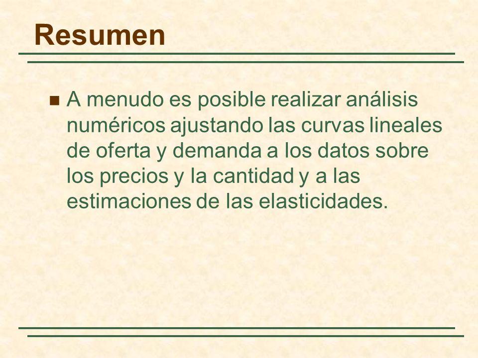 Resumen A menudo es posible realizar análisis numéricos ajustando las curvas lineales de oferta y demanda a los datos sobre los precios y la cantidad