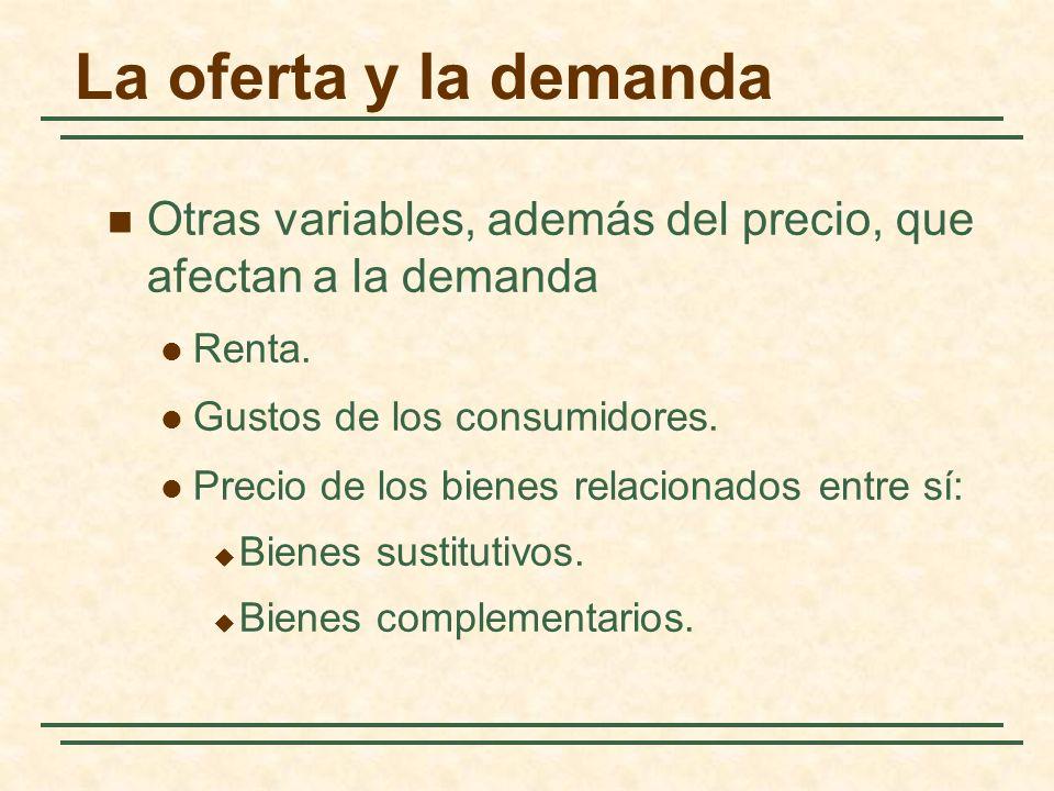 La oferta y la demanda Otras variables, además del precio, que afectan a la demanda Renta. Gustos de los consumidores. Precio de los bienes relacionad