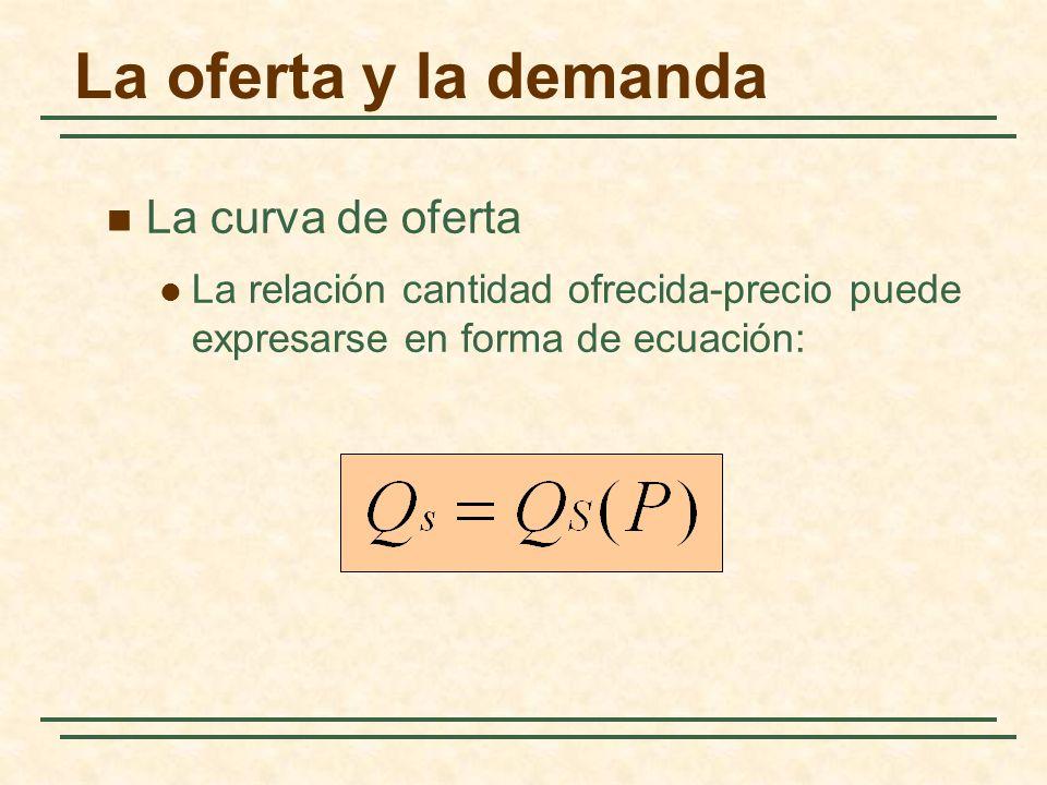 La oferta y la demanda La curva de oferta La relación cantidad ofrecida-precio puede expresarse en forma de ecuación: