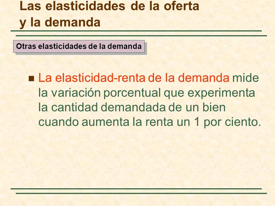 Las elasticidades de la oferta y la demanda La elasticidad-renta de la demanda mide la variación porcentual que experimenta la cantidad demandada de u