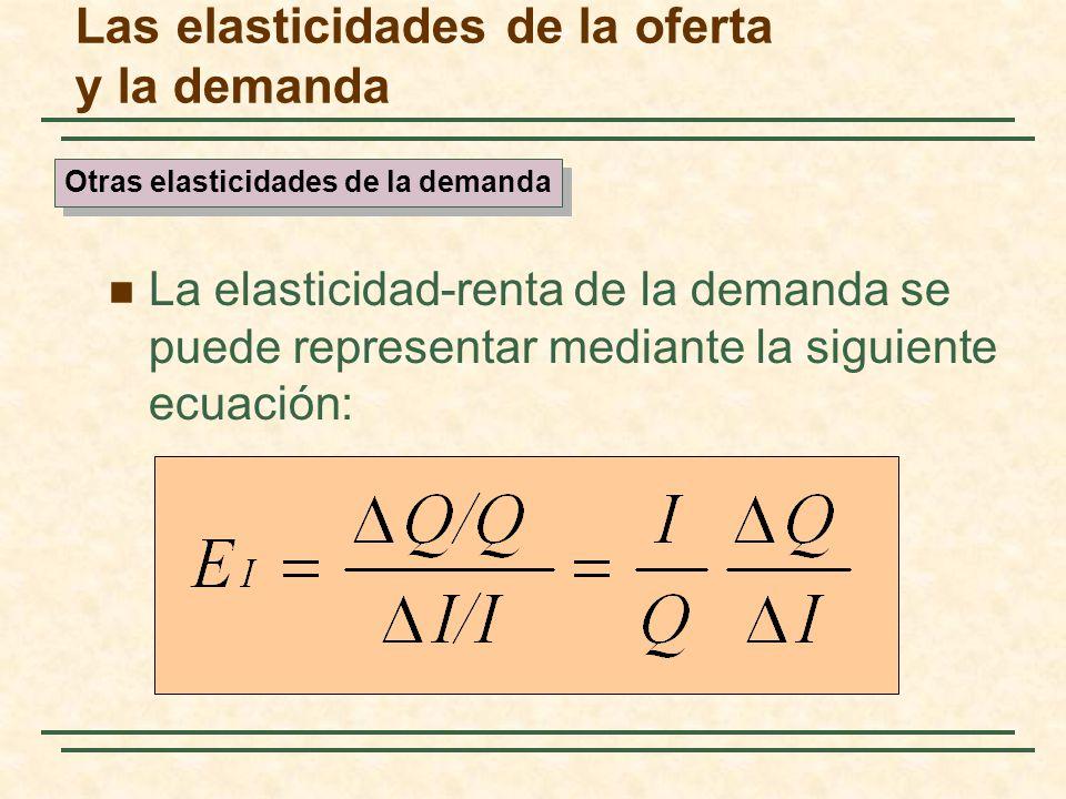 Las elasticidades de la oferta y la demanda La elasticidad-renta de la demanda se puede representar mediante la siguiente ecuación: Otras elasticidade