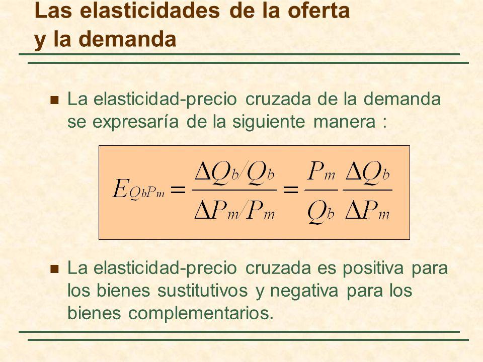 Las elasticidades de la oferta y la demanda La elasticidad-precio cruzada de la demanda se expresaría de la siguiente manera : La elasticidad-precio c
