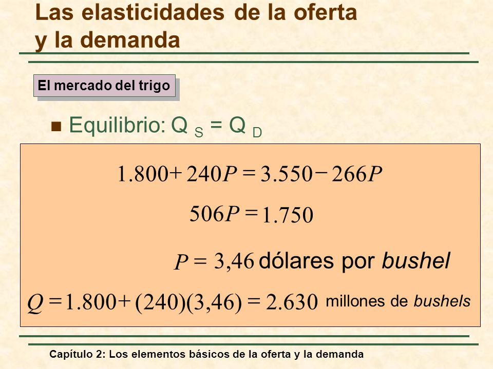 Las elasticidades de la oferta y la demanda Equilibrio: Q S = Q D PP2663.5502401.800 1.750 506 P dólares por bushel P 3,46 millones de bushels 630.2)4