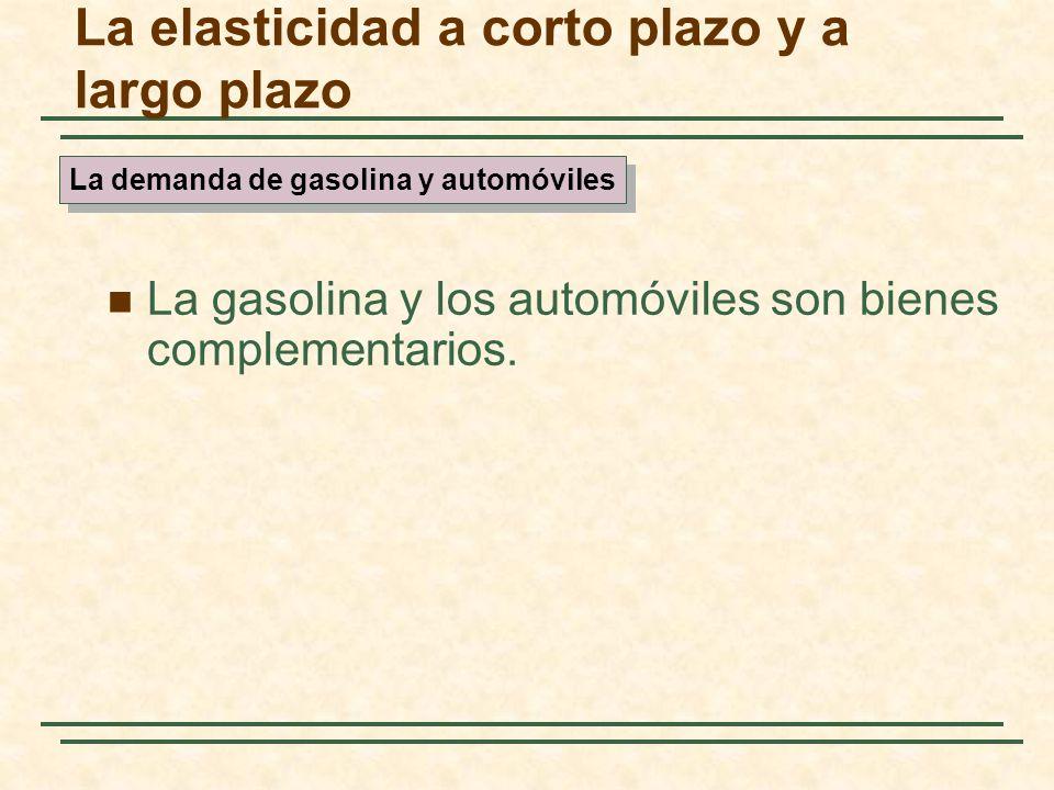 La gasolina y los automóviles son bienes complementarios. La elasticidad a corto plazo y a largo plazo La demanda de gasolina y automóviles