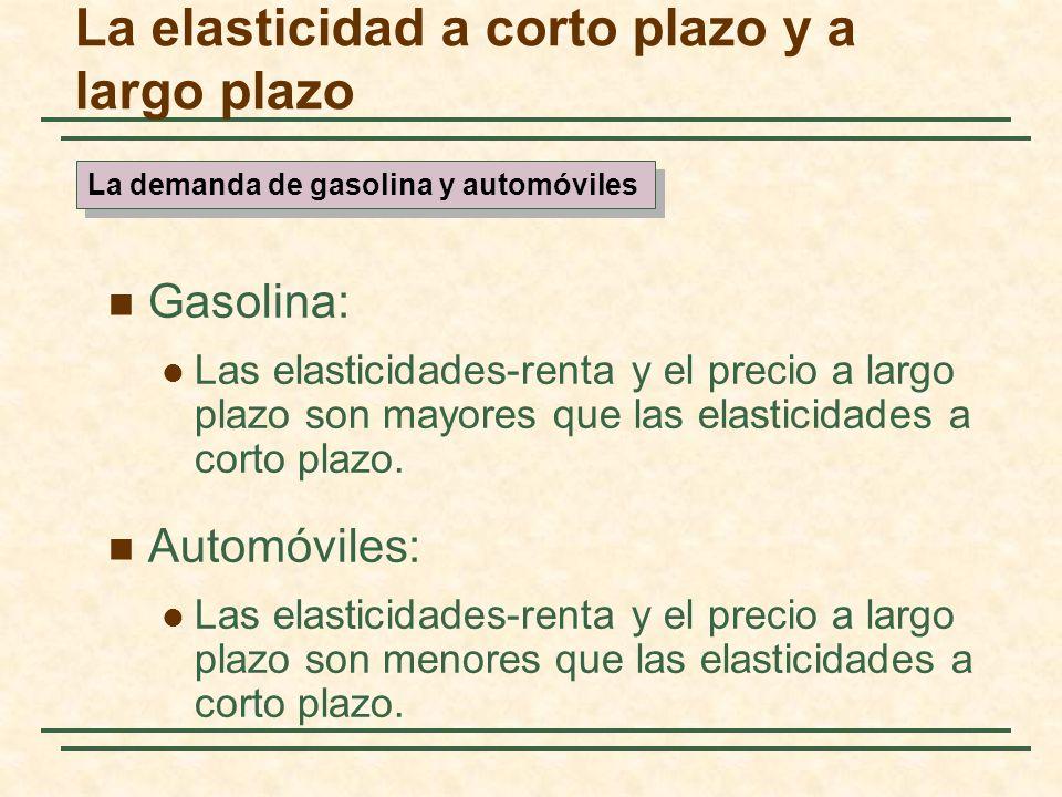 Gasolina: Las elasticidades-renta y el precio a largo plazo son mayores que las elasticidades a corto plazo. Automóviles: Las elasticidades-renta y el