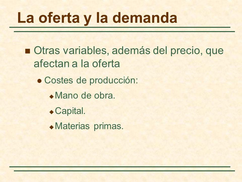 La oferta y la demanda Otras variables, además del precio, que afectan a la oferta Costes de producción: Mano de obra. Capital. Materias primas.