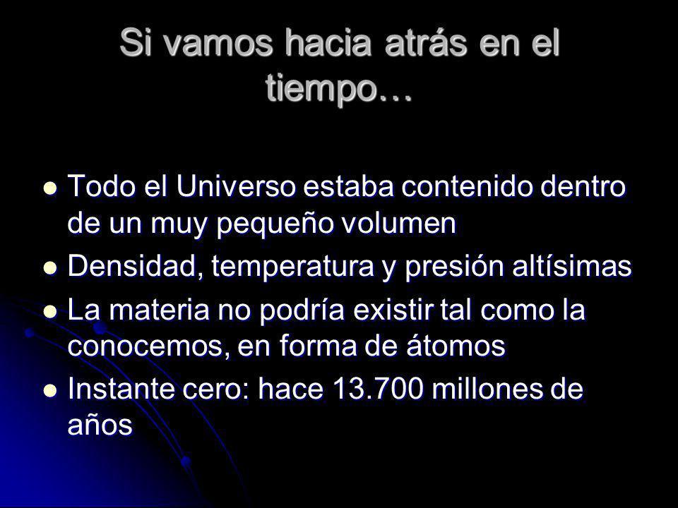 Si vamos hacia atrás en el tiempo… Todo el Universo estaba contenido dentro de un muy pequeño volumen Todo el Universo estaba contenido dentro de un m