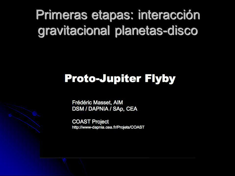 Primeras etapas: interacción gravitacional planetas-disco