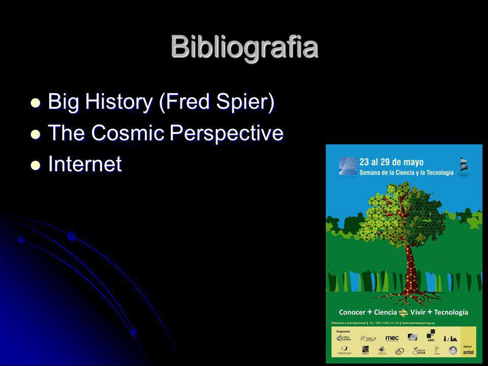 Bibliografia Big History (Fred Spier) Big History (Fred Spier) The Cosmic Perspective The Cosmic Perspective Internet Internet