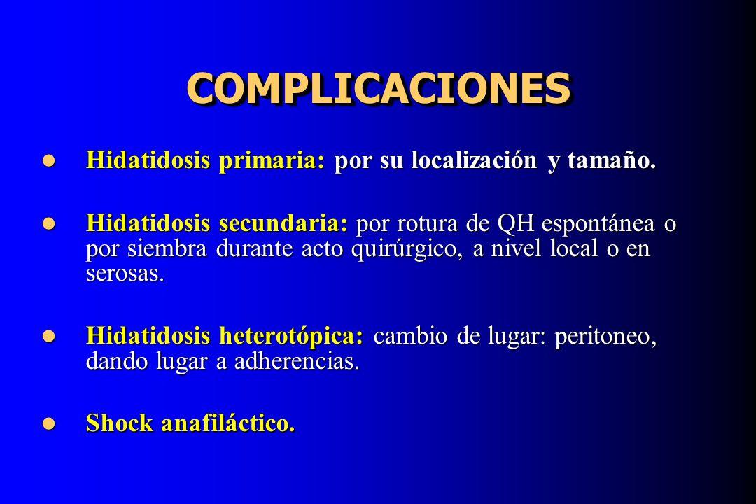 COMPLICACIONESCOMPLICACIONES Hidatidosis primaria: por su localización y tamaño. Hidatidosis primaria: por su localización y tamaño. Hidatidosis secun