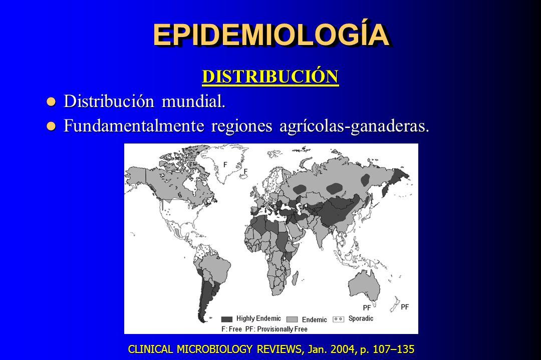 EPIDEMIOLOGÍAEPIDEMIOLOGÍA DISTRIBUCIÓN Distribución mundial. Distribución mundial. Fundamentalmente regiones agrícolas-ganaderas Fundamentalmente reg