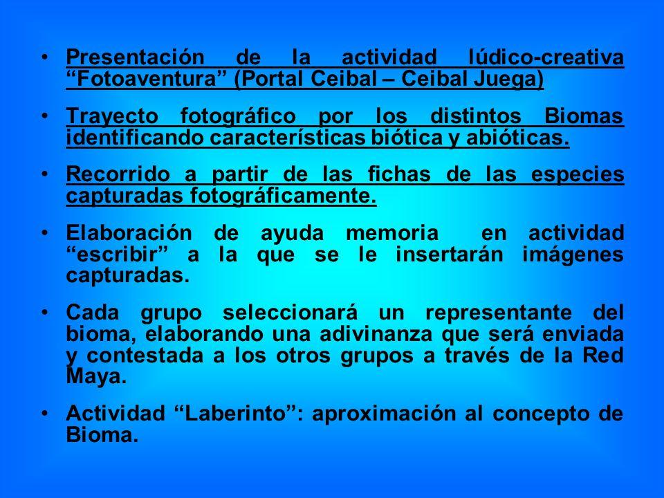 Presentación de la actividad lúdico-creativa Fotoaventura (Portal Ceibal – Ceibal Juega) Trayecto fotográfico por los distintos Biomas identificando características biótica y abióticas.