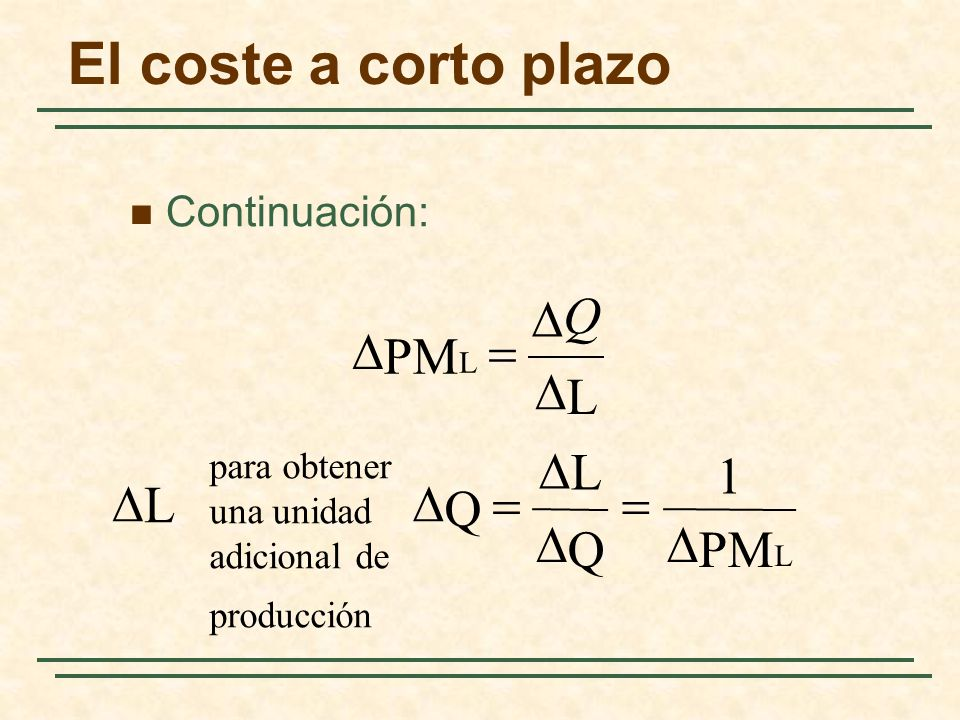El coste a corto plazo Continuación: L PM L Q L PM 1 Q L Q para obtener una unidad adicional de producción L