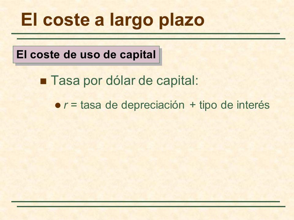 El coste a largo plazo Tasa por dólar de capital: r = tasa de depreciación + tipo de interés El coste de uso de capital