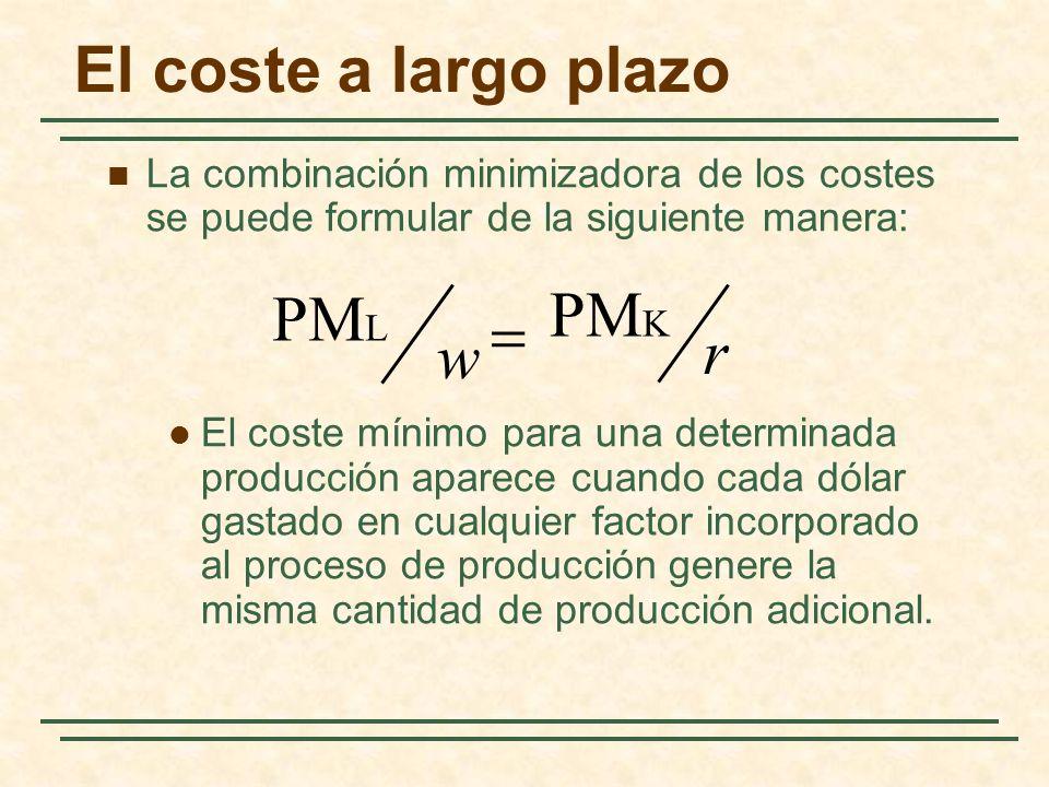 El coste a largo plazo La combinación minimizadora de los costes se puede formular de la siguiente manera: El coste mínimo para una determinada produc