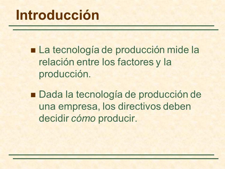 Introducción La tecnología de producción mide la relación entre los factores y la producción. Dada la tecnología de producción de una empresa, los dir