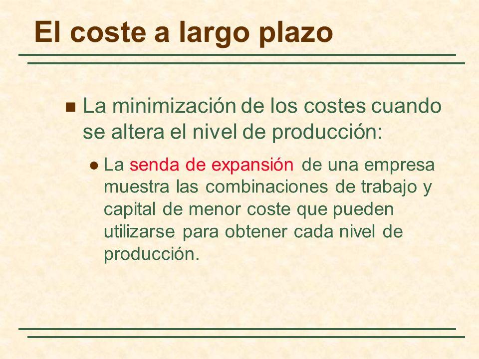 La minimización de los costes cuando se altera el nivel de producción: La senda de expansión de una empresa muestra las combinaciones de trabajo y cap