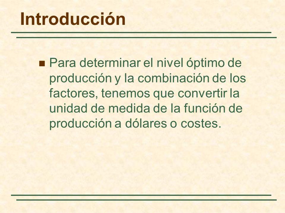 Introducción Para determinar el nivel óptimo de producción y la combinación de los factores, tenemos que convertir la unidad de medida de la función d