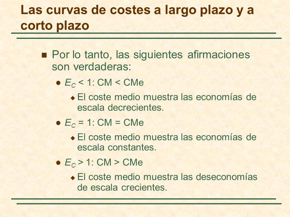 Por lo tanto, las siguientes afirmaciones son verdaderas: E C < 1: CM < CMe El coste medio muestra las economías de escala decrecientes. E C = 1: CM =