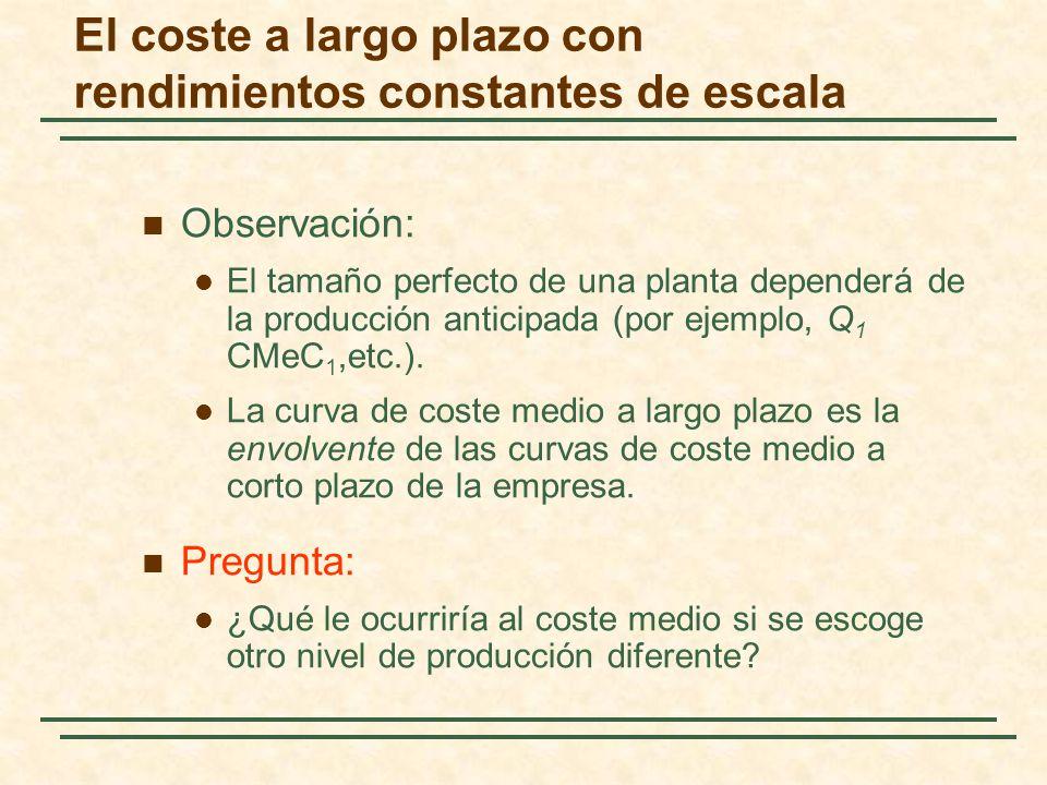 Observación: El tamaño perfecto de una planta dependerá de la producción anticipada (por ejemplo, Q 1 CMeC 1,etc.). La curva de coste medio a largo pl