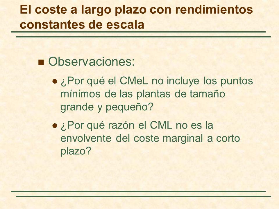Observaciones: ¿Por qué el CMeL no incluye los puntos mínimos de las plantas de tamaño grande y pequeño? ¿Por qué razón el CML no es la envolvente del