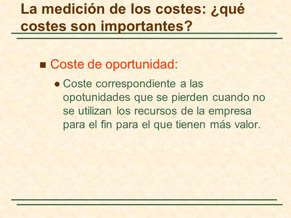 Coste de oportunidad: Coste correspondiente a las opotunidades que se pierden cuando no se utilizan los recursos de la empresa para el fin para el que
