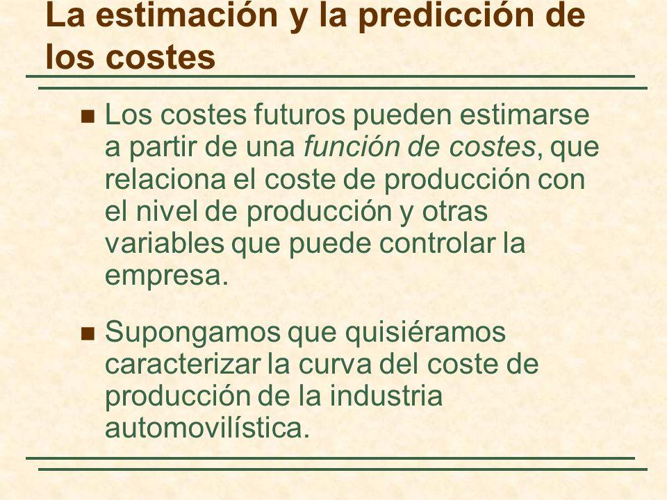 La estimación y la predicción de los costes Los costes futuros pueden estimarse a partir de una función de costes, que relaciona el coste de producció