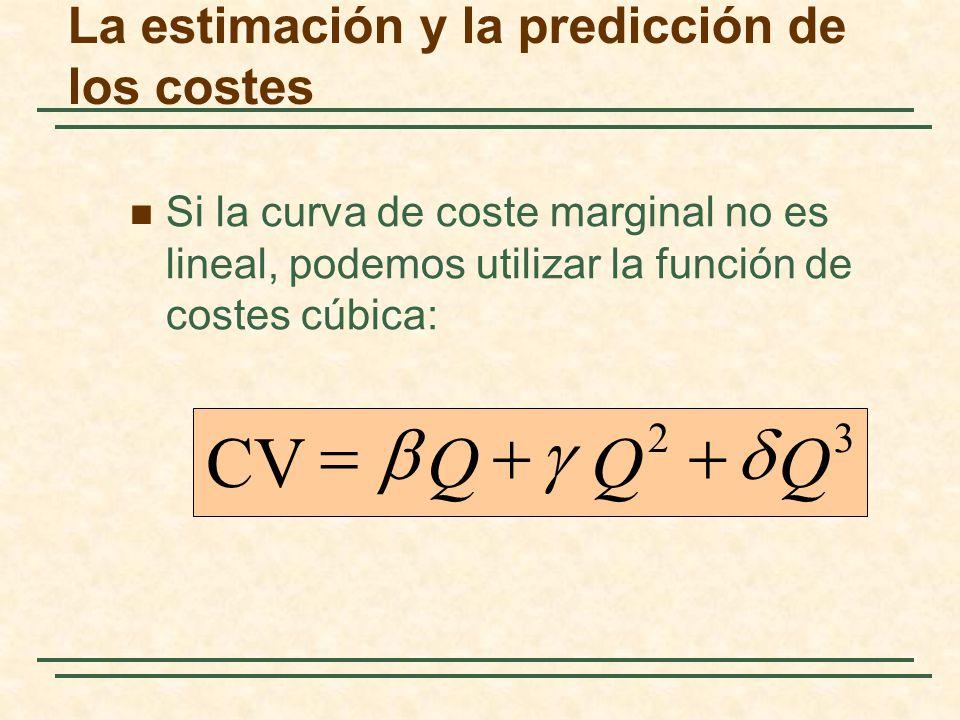 Si la curva de coste marginal no es lineal, podemos utilizar la función de costes cúbica: 32 CVQQQ La estimación y la predicción de los costes