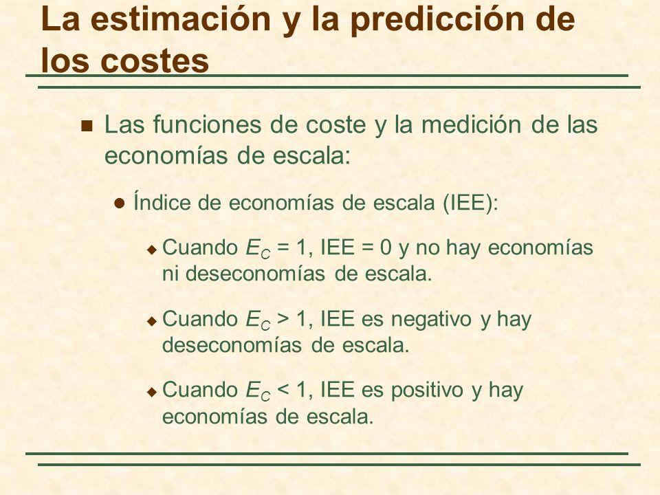 Las funciones de coste y la medición de las economías de escala: Índice de economías de escala (IEE): Cuando E C = 1, IEE = 0 y no hay economías ni de