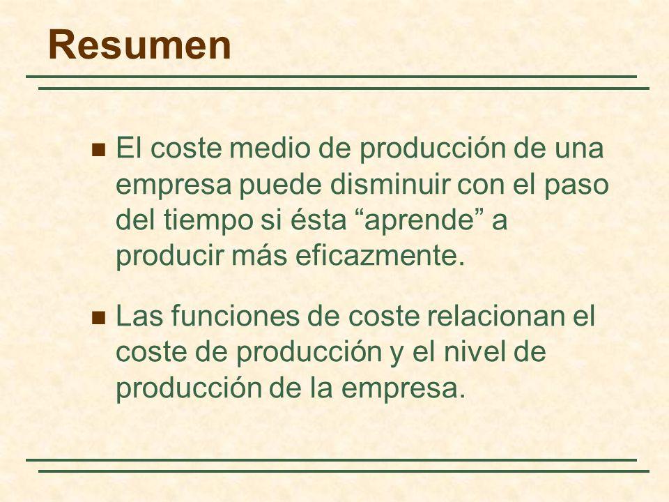Resumen El coste medio de producción de una empresa puede disminuir con el paso del tiempo si ésta aprende a producir más eficazmente. Las funciones d