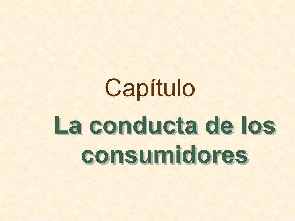 Esbozo del capítulo La preferencias de los consumidores Las restricciones presupuestarias La elección de los consumidores La preferencia revelada